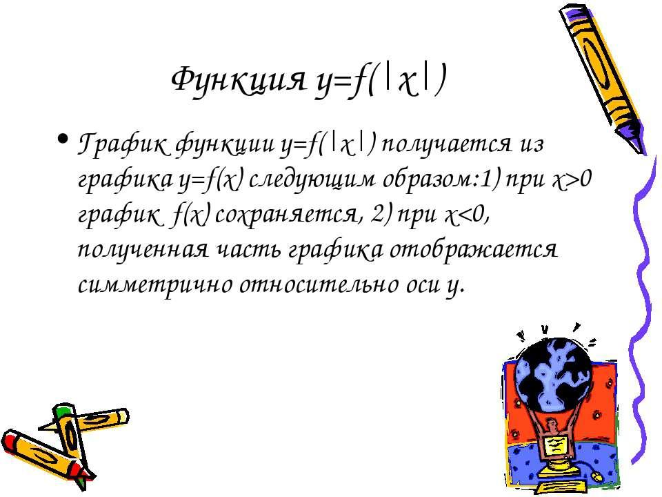 Функция y=f(|x|) График функции y=f(|x|) получается из графика y=f(x) следующ...