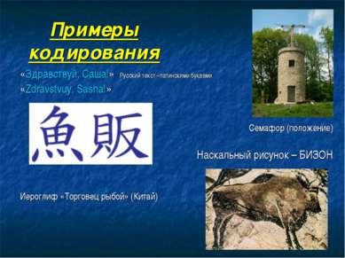 Примеры кодирования «Здравствуй, Саша!» Русский текст –латинскими буквами «Zd...
