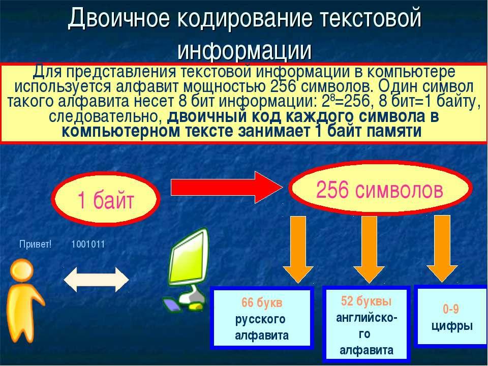 Двоичное кодирование текстовой информации Для представления текстовой информа...