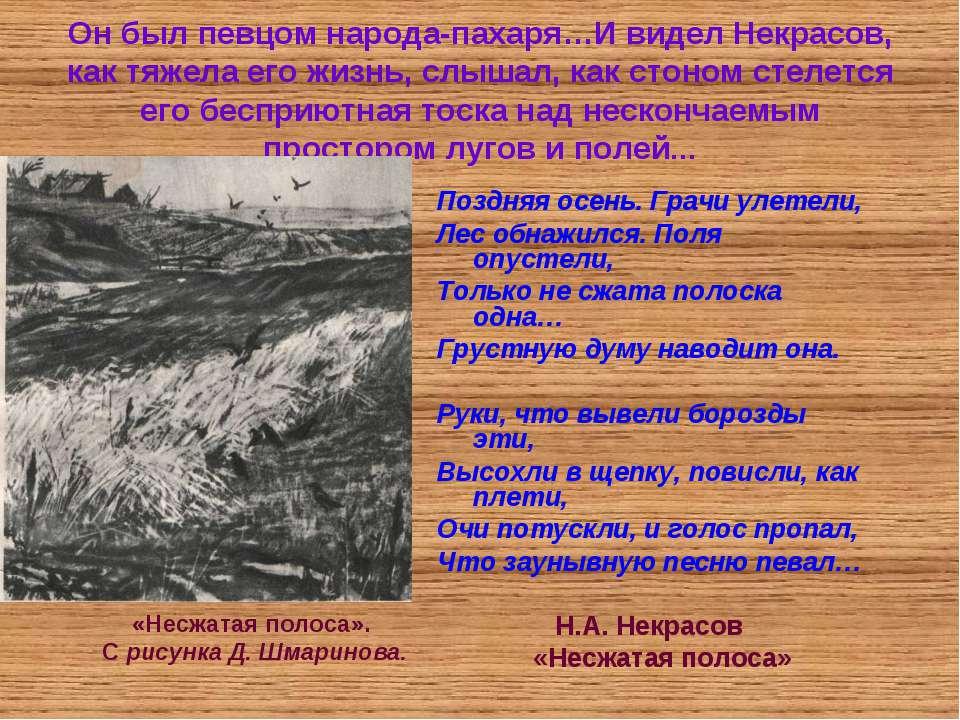 Он был певцом народа-пахаря…И видел Некрасов, как тяжела его жизнь, слышал, к...