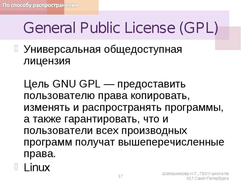 General Public License (GPL) Универсальная общедоступная лицензия Цель GNU GP...