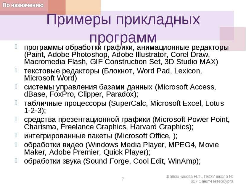 Примеры прикладных программ программы обработки графики, анимационные редакто...