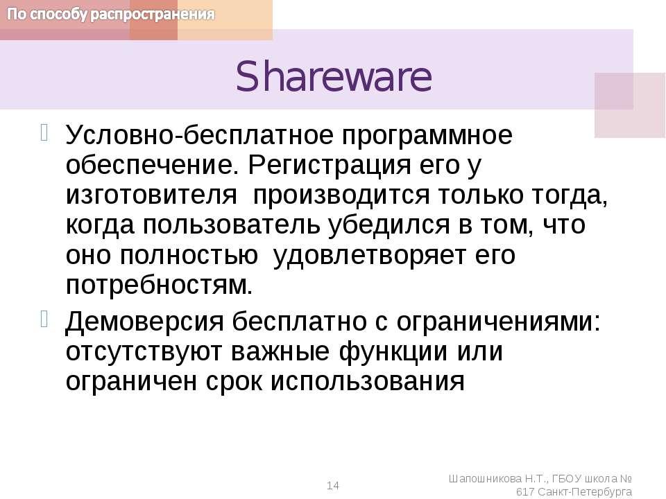 Shareware Условно-бесплатное программное обеспечение. Регистрация его у изгот...