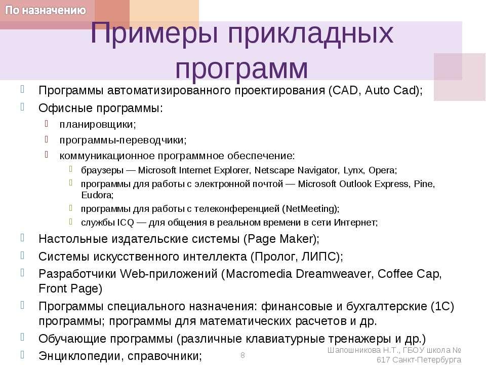 Примеры прикладных программ Программы автоматизированного проектирования (CAD...