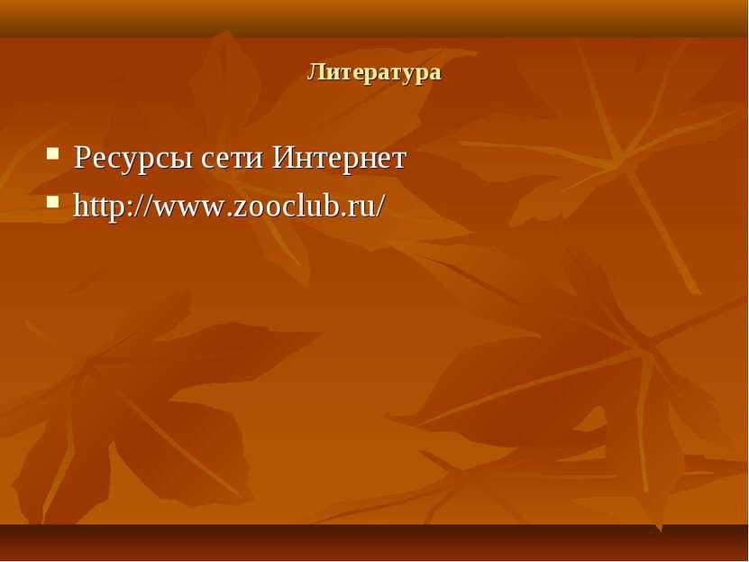 Литература Ресурсы сети Интернет http://www.zooclub.ru/