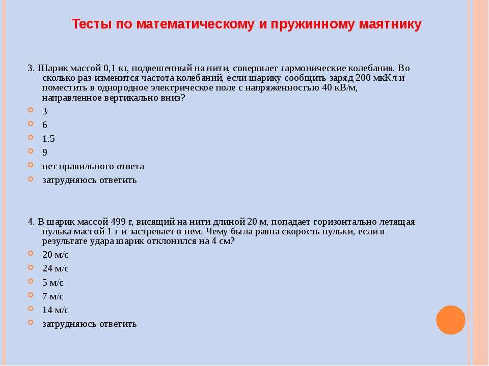 Тесты по математическому и пружинному маятнику 3. Шарик массой 0,1 кг, подвеш...
