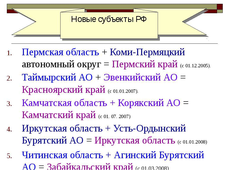 Пермская область + Коми-Пермяцкий автономный округ = Пермский край (с 01.12.2...