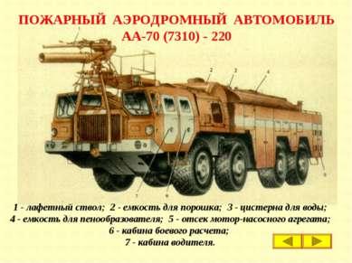ПОЖАРНЫЙ АЭРОДРОМНЫЙ АВТОМОБИЛЬ АА-70 (7310) - 220 1 - лафетный ствол; 2 - ем...