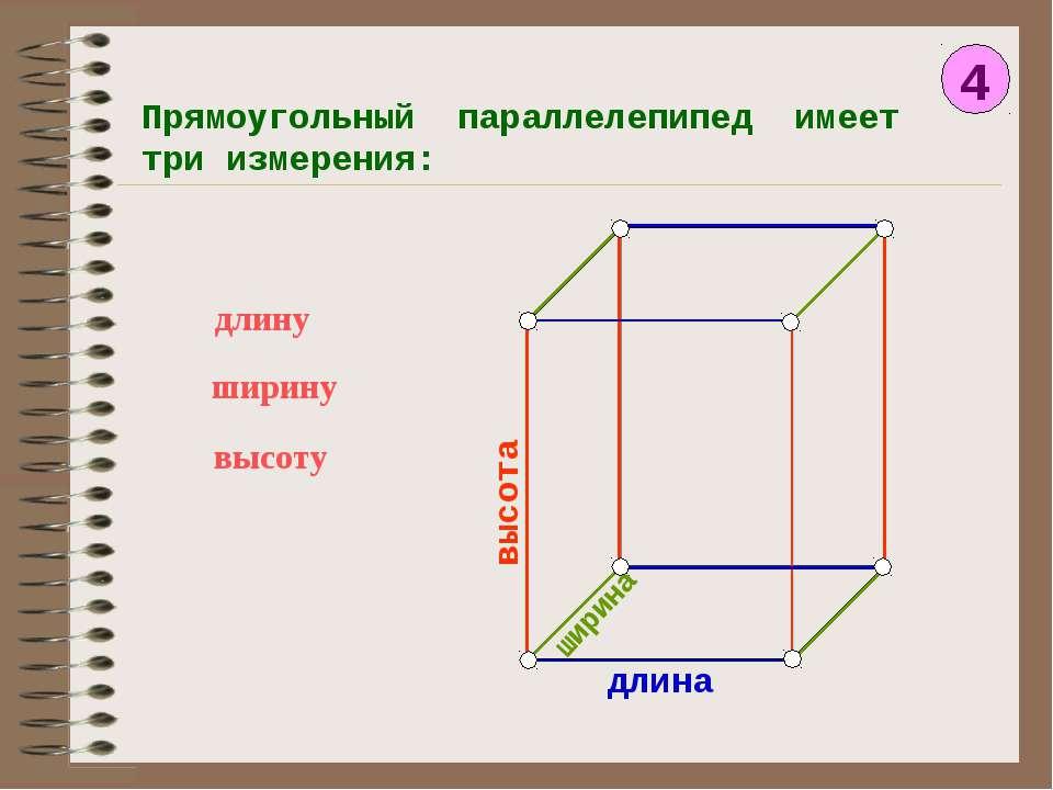 4 Прямоугольный параллелепипед имеет три измерения: длину ширину высоту длина...