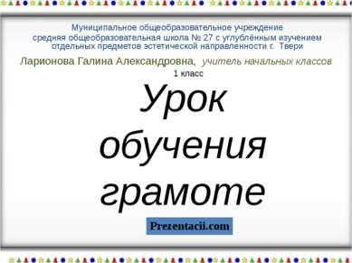 Ларионова Галина Александровна, учитель начальных классов Муниципальное общео...