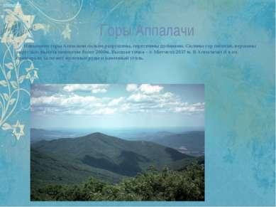 Горы Аппалачи Невысокие горы Аппалачи сильно разрушены, пересечены долинами. ...