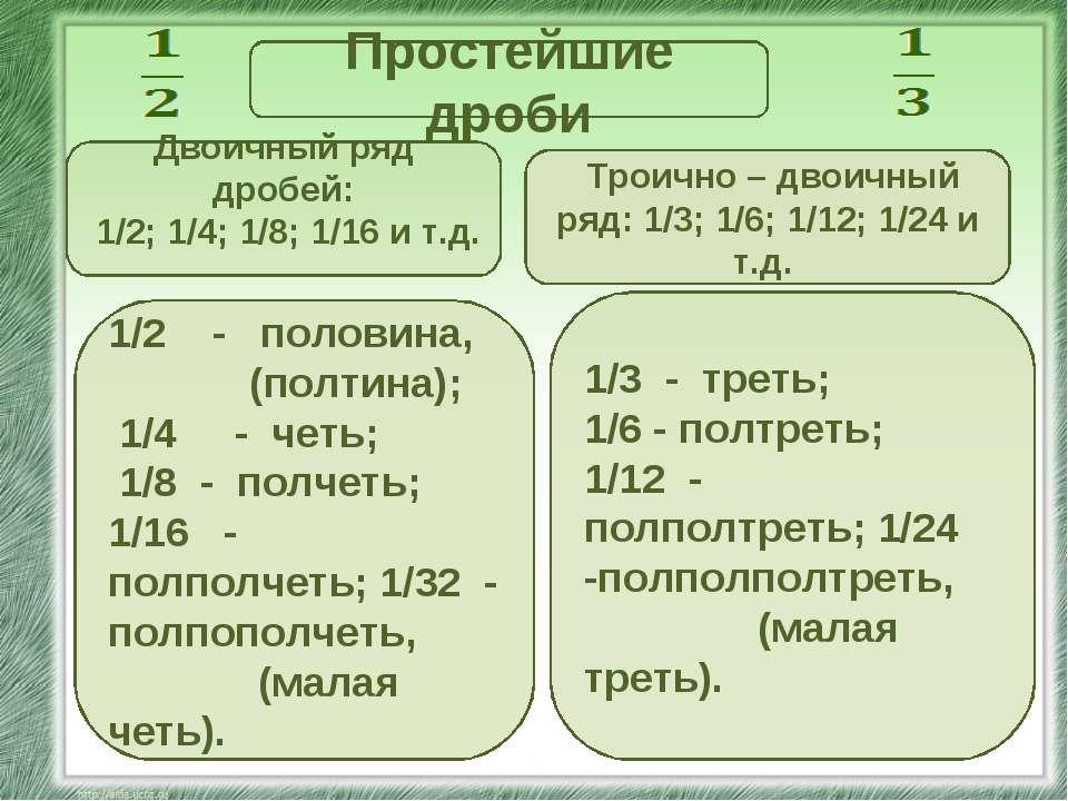 Простейшие дроби Двоичный ряд дробей: 1/2; 1/4; 1/8; 1/16 и т.д. Троично – дв...