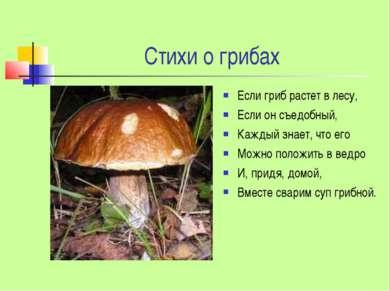 Стихи о грибах Если гриб растет в лесу, Если он съедобный, Каждый знает, что ...