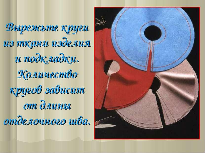 Вырежьте круги из ткани изделия и подкладки. Количество кругов зависит от дли...
