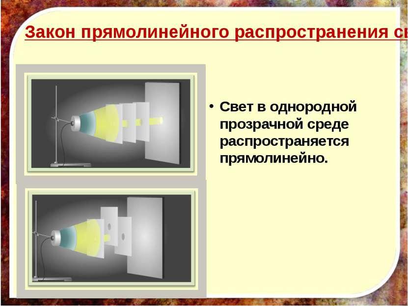 Закон прямолинейного распространения света. Свет в однородной прозрачной сред...