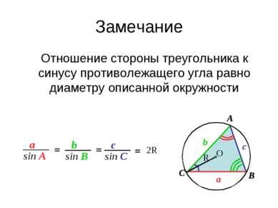 Замечание Отношение стороны треугольника к синусу противолежащего угла равно ...