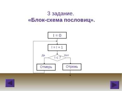 3 задание. «Блок-схема пословиц».