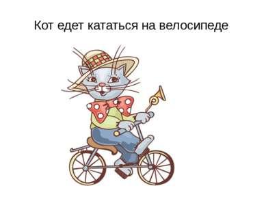 Кот едет кататься на велосипеде