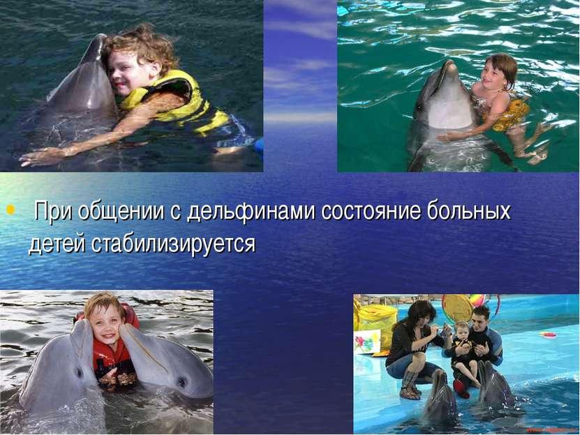 При общении с дельфинами состояние больных детей стабилизируется