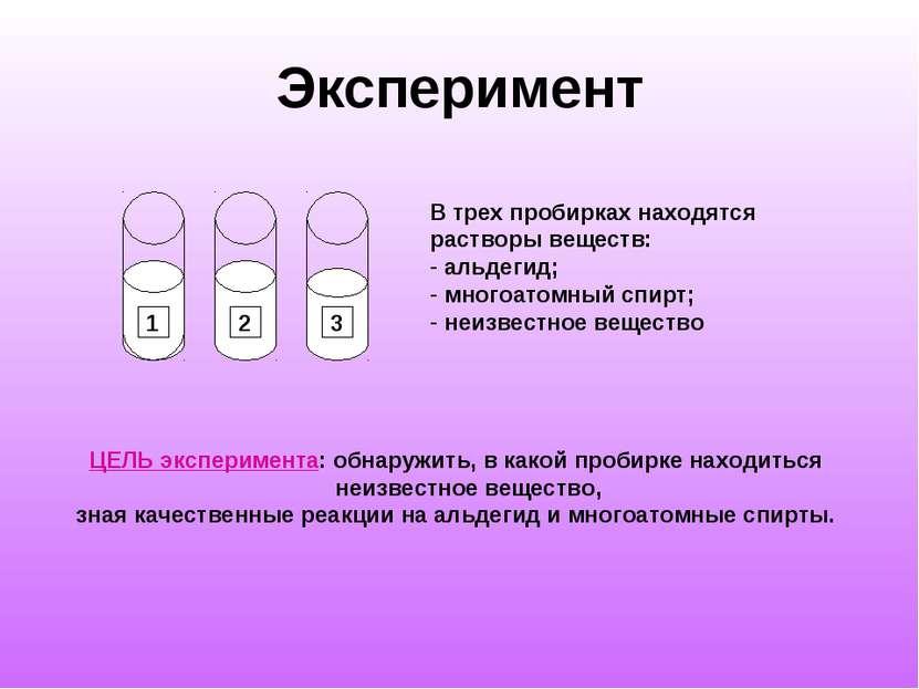 Эксперимент 1 2 3 В трех пробирках находятся растворы веществ: альдегид; мног...