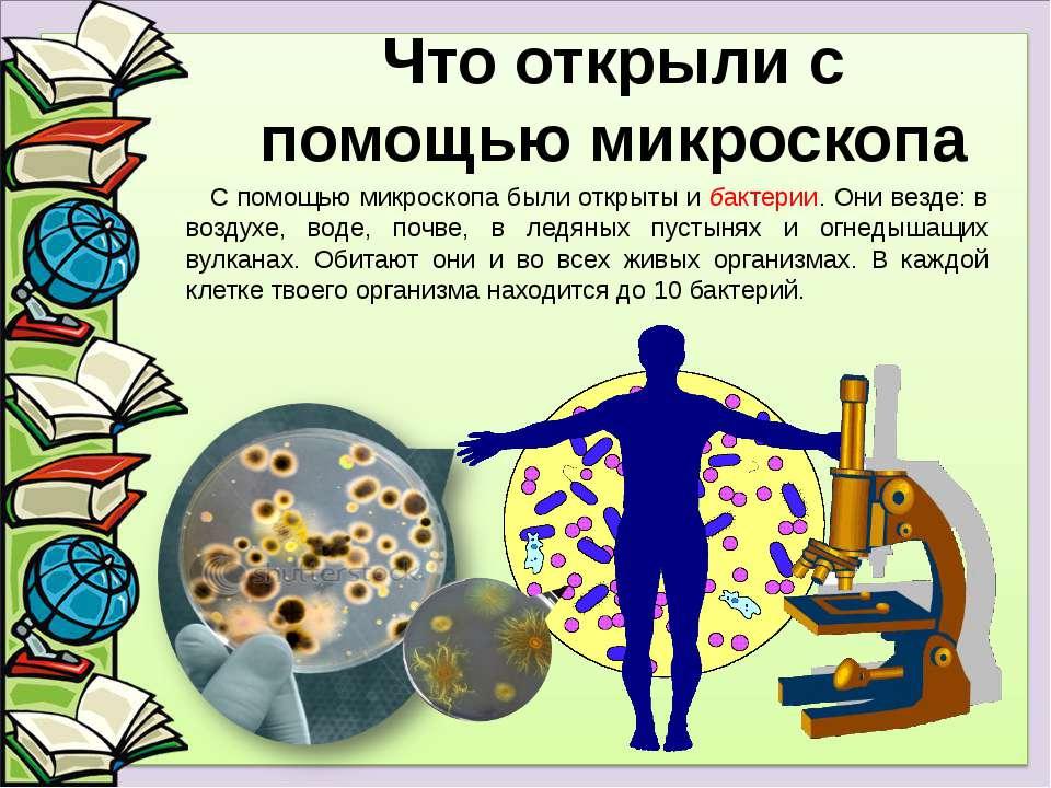 С помощью микроскопа были открыты и бактерии. Они везде: в воздухе, воде, поч...
