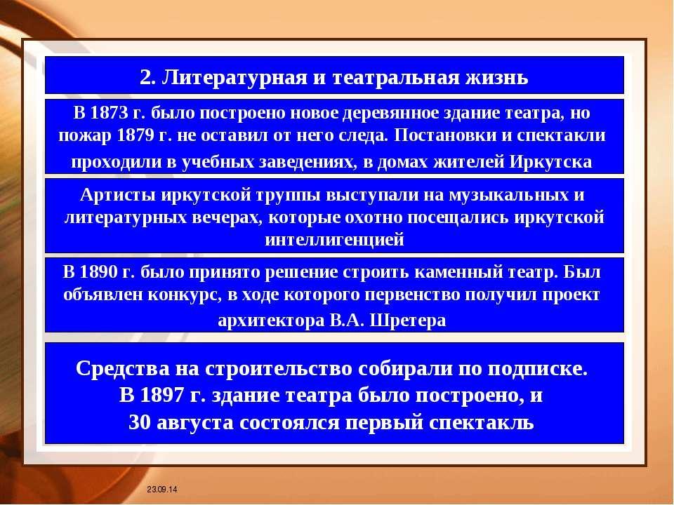* 2. Литературная и театральная жизнь В 1873 г. было построено новое деревянн...