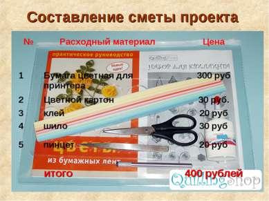 Составление сметы проекта итого 400 рублей