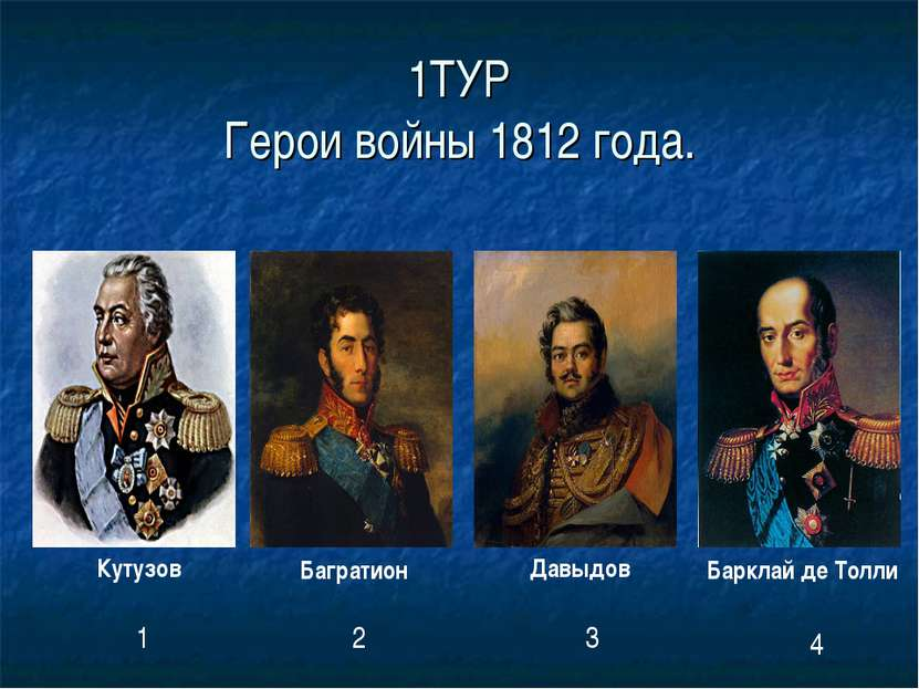 1ТУР Герои войны 1812 года. Кутузов Багратион Давыдов Барклай де Толли 1 2 3 4