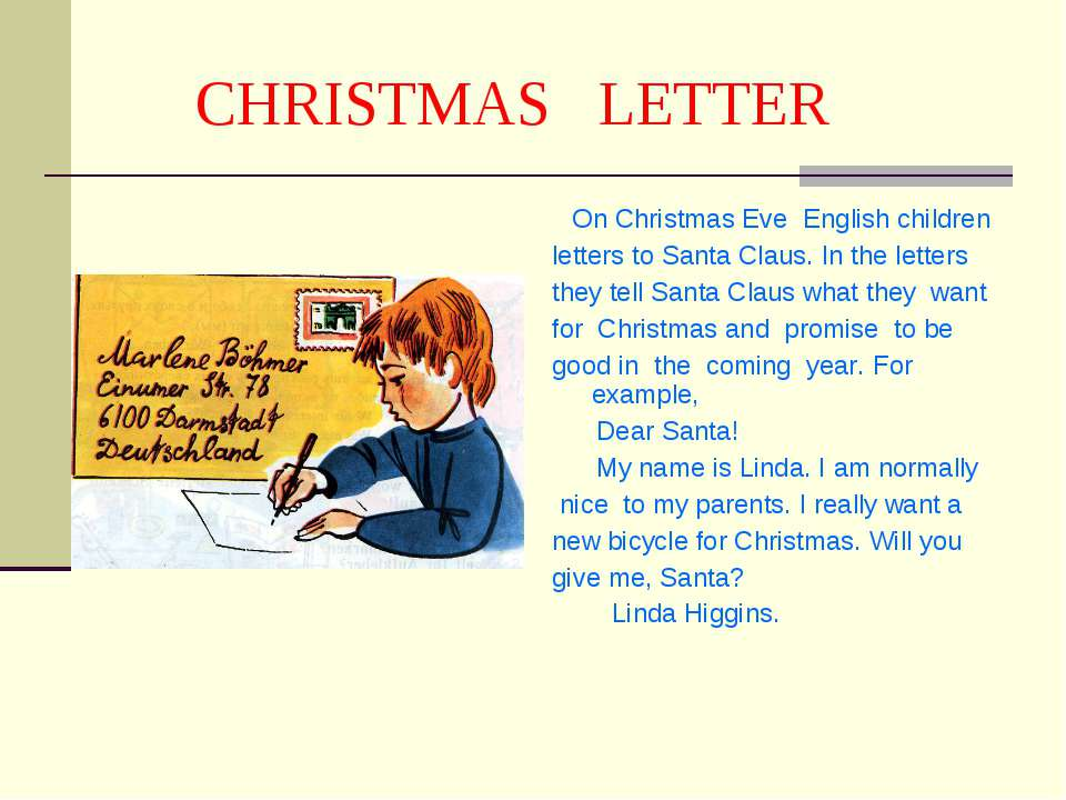 CHRISTMAS LETTER On Christmas Eve English children letters to Santa Claus. In...