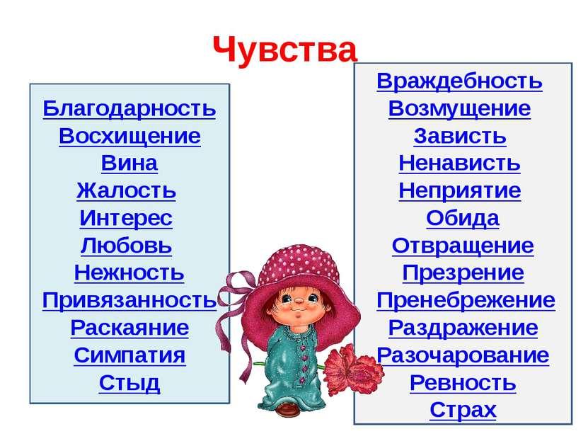 Чувства Благодарность Восхищение Вина Жалость Интерес Любовь Нежность Прив...
