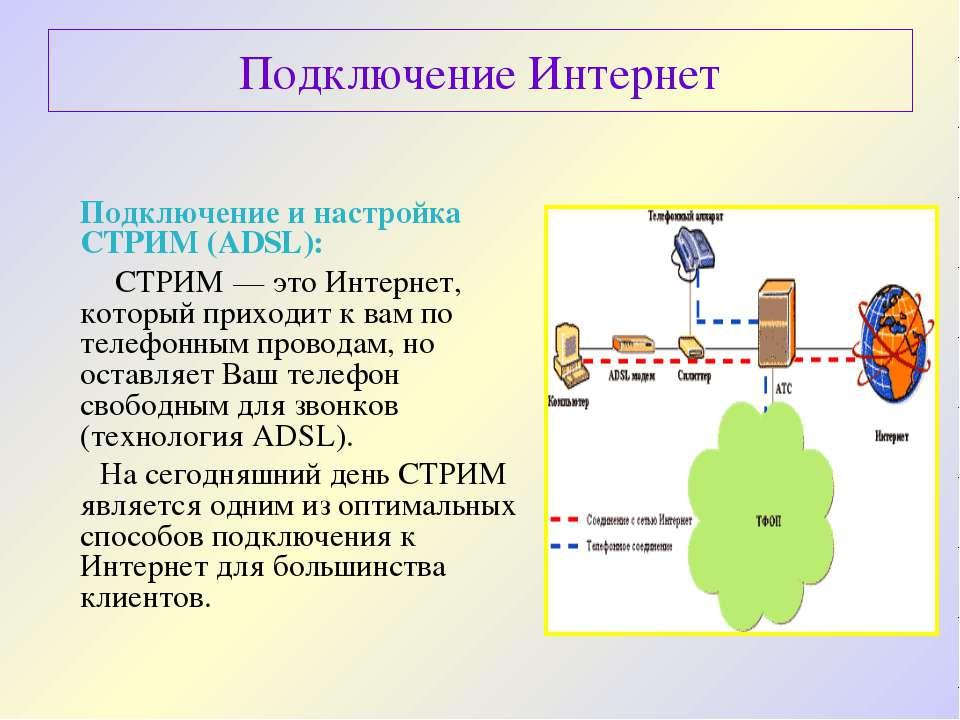 Подключение Интернет Подключение и настройка СТРИМ (ADSL): СТРИМ— это Интерн...