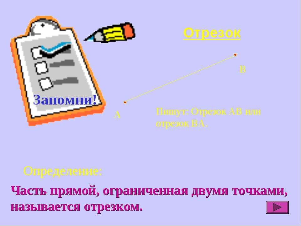 Отрезок Определение: Пишут: Отрезок АВ или отрезок ВА. Часть прямой, ограниче...
