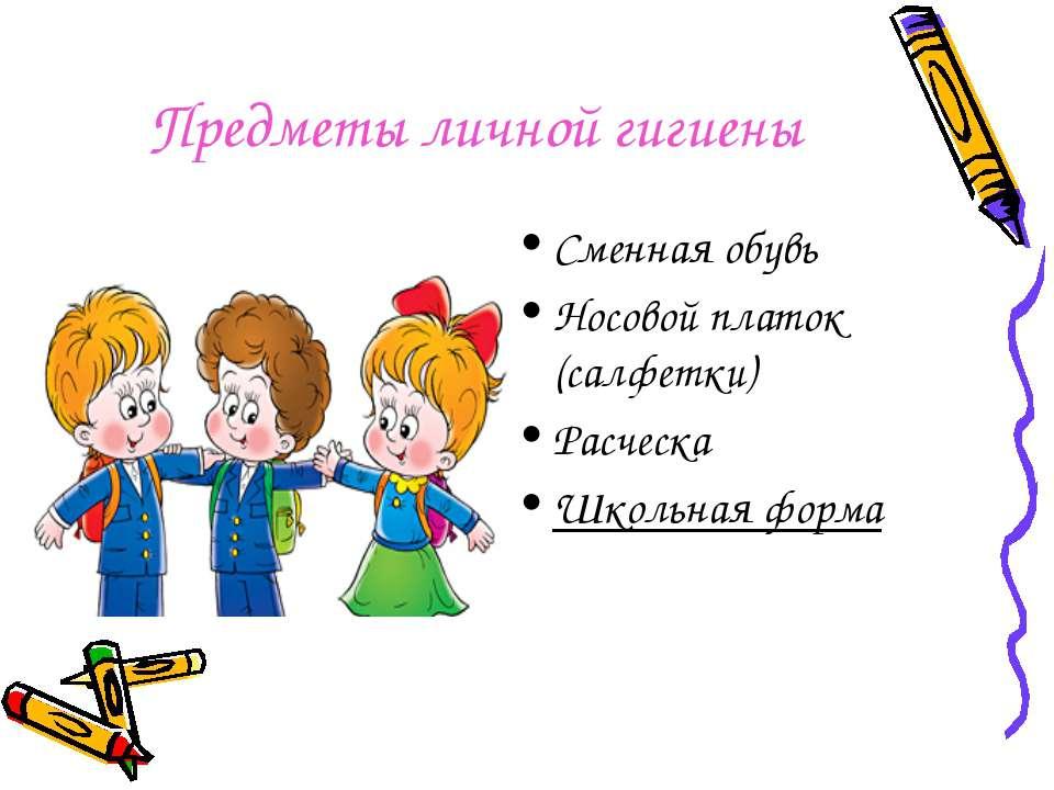 Предметы личной гигиены Сменная обувь Носовой платок (салфетки) Расческа Школ...