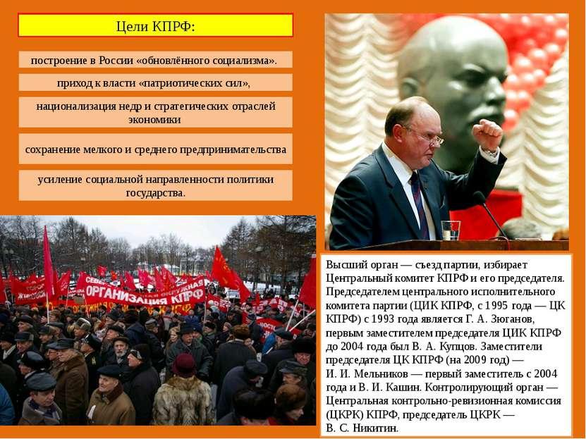 Высший орган— съезд партии, избирает Центральный комитет КПРФ и его председа...