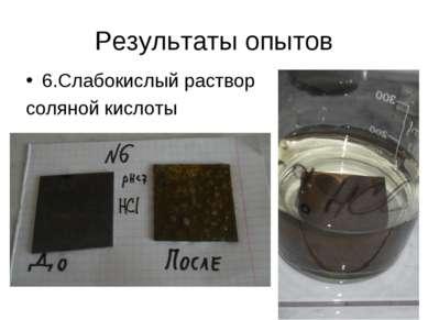 Результаты опытов 6.Слабокислый раствор соляной кислоты