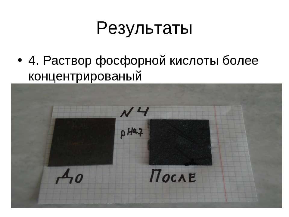 Результаты 4. Раствор фосфорной кислоты более концентрированый