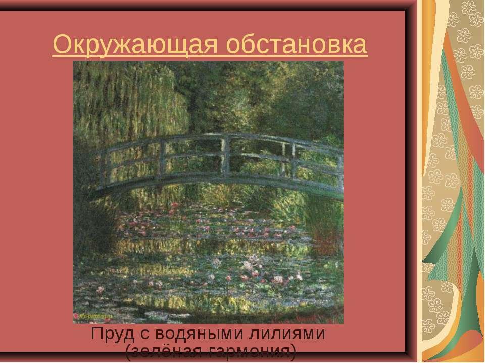 Окружающая обстановка Пруд с водяными лилиями (зелёная гармония)