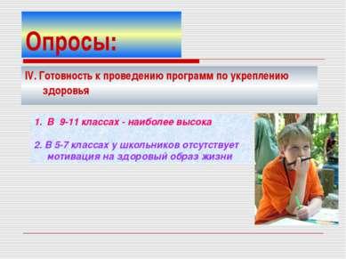 Опросы: IV. Готовность к проведению программ по укреплению здоровья В 9-11 кл...