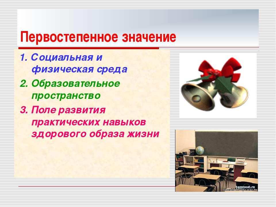 Первостепенное значение 1. Социальная и физическая среда 2. Образовательное п...