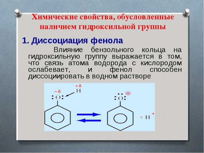 Химические свойства, обусловленные наличием гидроксильной группы 1. Диссоциац...