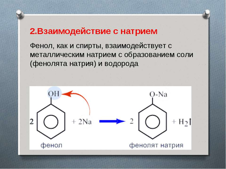 2.Взаимодействие с натрием Фенол, как и спирты, взаимодействует с металлическ...