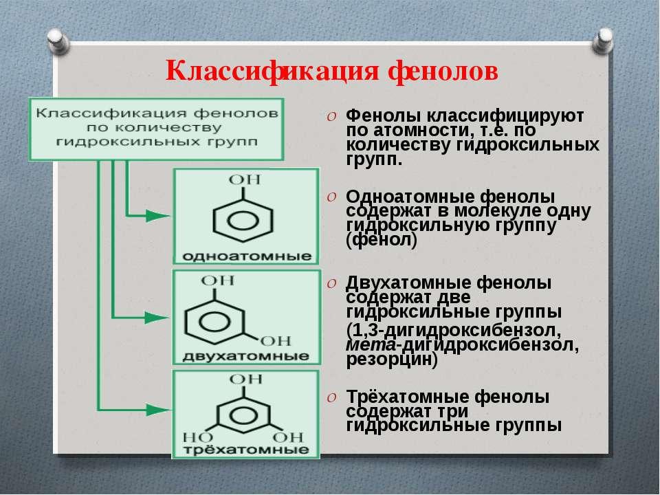Классификация фенолов Фенолы классифицируют по атомности, т.е. по количеству ...