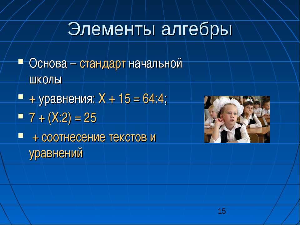 Элементы алгебры Основа – стандарт начальной школы + уравнения: X + 15 = 64:4...