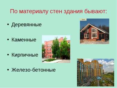 По материалу стен здания бывают: Деревянные Каменные Кирпичные Железо-бетонные