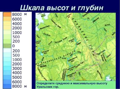 Шкала высот и глубин Определите среднюю и максимальную высоту Уральских гор.
