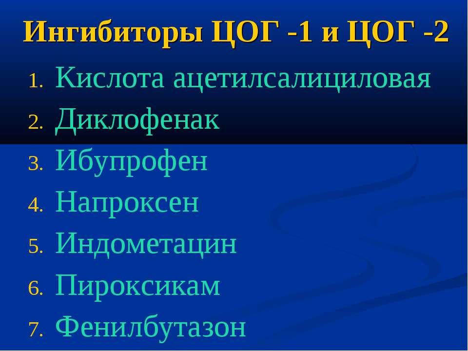 Ингибиторы ЦОГ -1 и ЦОГ -2 Кислота ацетилсалициловая Диклофенак Ибупрофен Нап...