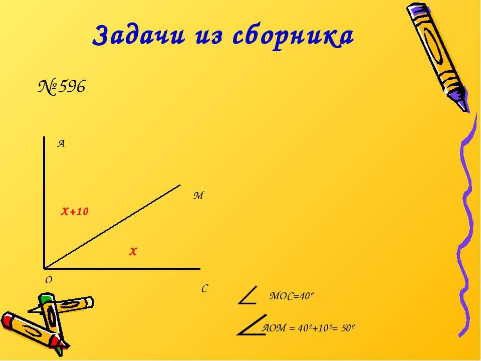Задачи из сборника А М С О Х Х+10 МОС=40º АОМ = 40º+10º= 50º № 596