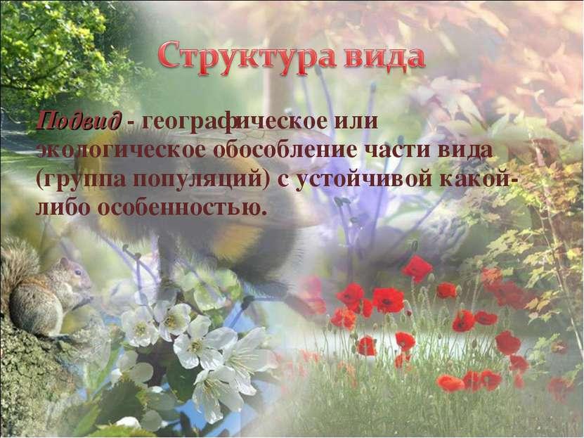 Подвид - географическое или экологическое обособление части вида (группа попу...