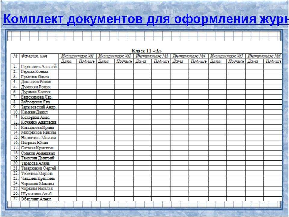 Комплект документов для оформления журнала по технике безопасности Комплект и...