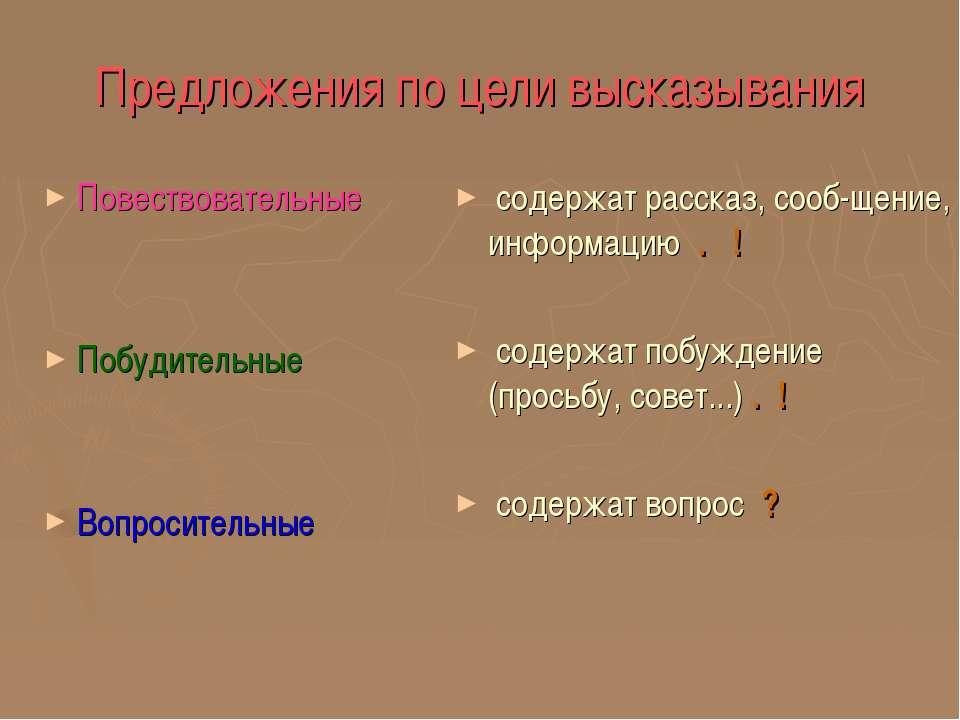 Предложения по цели высказывания Повествовательные Побудительные Вопросительн...